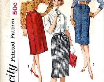 1960s Simplicity Pattern No. 3744 , Wiggle Skirt with Kick Pleats , Pencil Skirt ,  Waist 26