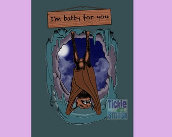 Moon Bat Card - I'm BATTY For You! Hanging Bat in Moonlight -Goth, Valentine, Anniversary, Engagement, Love, Greeting, Blank Card