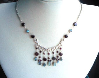 Labradorite and Garnet Necklace wire wrapped with Sterling Silver