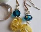 Yellow and Aqua Blue Dangle Earrings