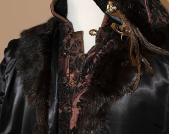 """Chest 46"""" Black and Mocha King Henry Tudor Renaissance Medieval Mens Lords Doublet Game of Thrones Jacket"""