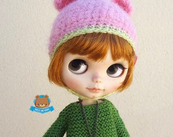 Pink and green watermelon mohair bear hat helmet for Neo Blythe