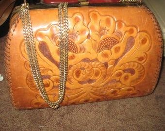 Vintage Tooled Leather Bag/Hard Bag Purse/ Leather Handbag