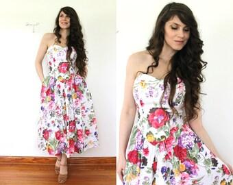 1980s 1950s Style Dress / 80s 50s Floral Garden Party Full Skirt Dress