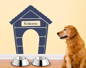 Personalized Dog Wall Decal - Dog House Wall Art - Dog Name Decal