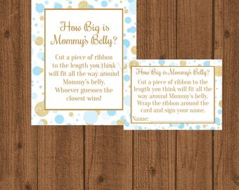 Blue and Gold How Big is Mommy's Belly, Blue and Gold Baby Shower, Mommy's Belly Baby Shower Game, Boy Baby Shower, Instant Download