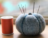 Blue Pumpkin Pincushion - CUSTOM RESERVED LISTING