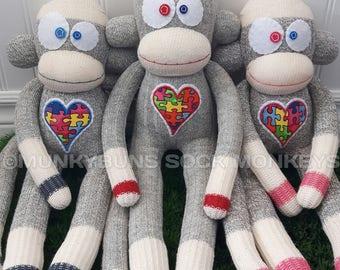 Autism Awareness Puzzle Sock Monkey Doll
