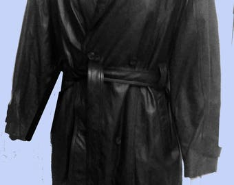 Mens Vintage Long Black Leather Belted Coat/Trench by Wilsons Sz 2X