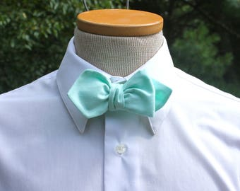 Men's Bow Tie - Mint Green Solid Bowtie - Freestyle bow tie self tie bow tie Adjustable bowtie  mens bow ties Mint Green Bow Tie solid mint
