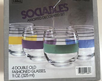 Libbey Sociables 4 pc Double Old Fashioned Glass Set NIB
