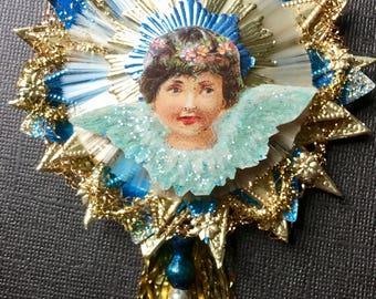 Vintage Look Angel Christmas Ornament Victorian-German Dresdens, Gold Spun Glass, Krinkle Wire, Vtg Reflector/ Glass Beads