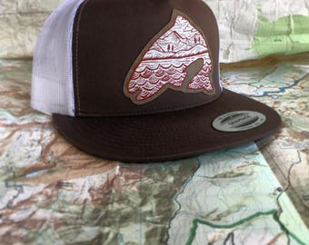 Trout and mountains hand painted snapback trucker hat