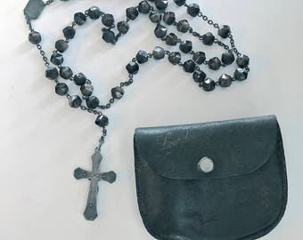 FRENCH LOURDES ROSARY Brown Agate Moonstone