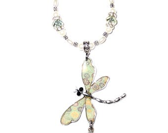 Rearview Mirror Charm Memorial Photo Crystal Dragonfly Bohemian Green Crystals Pearls Silver Metal Beads - FREE SHIPPING