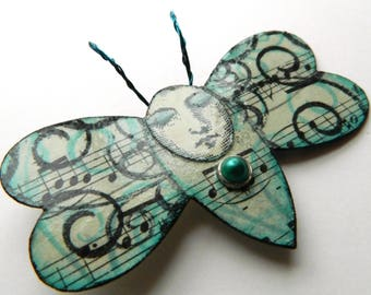 Butterfly Pin, Whimsical Brooch, Moth Brooch,  Blue Butterfly,  Music Brooch, Musical Brooch,  Mixed Media Pin, Bug Brooch, Quirky Brooch