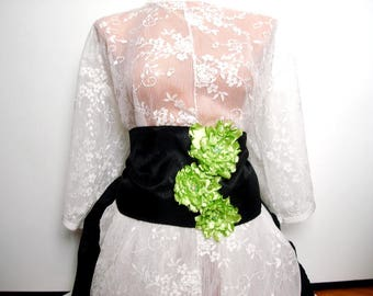 Wide Black Belt, green and black plus size  corset belt