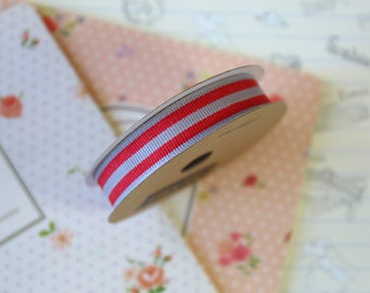 Slate Grey and Red Stripe Grosgrain ribbon
