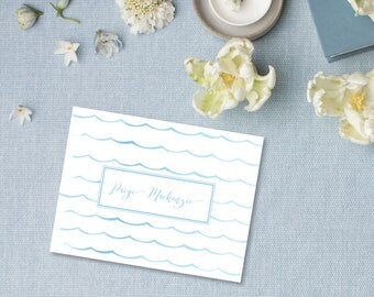 Wave Watercolor Personalized Stationery | Nautical Theme | Ocean Notecard | Folded Stationery Set | Thank You Notes | Wave Pattern
