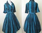 "ON HOLD Classic 1950's ""Shirt Waist"" Dress in Amazing Atomic Rayon Print Matching belt Rockabilly VLV Swing Dance size Large"