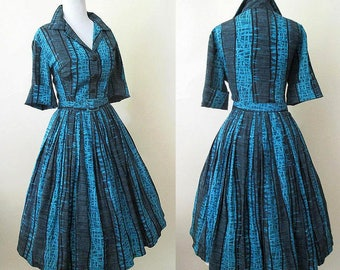 "Classic 1950's ""Shirt Waist"" Dress in Amazing Atomic Rayon Print Matching belt Rockabilly VLV Swing Dance size Large"
