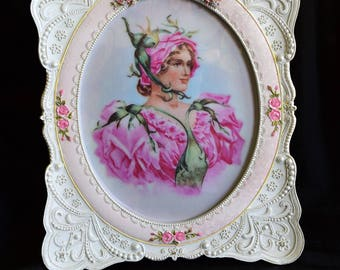 PINK ROSE FRAME Picture Photo Oval Photograph Holder Victorian Lace Lady Woman Rosebud Flower Floral Bud Hat Dress 8 x 10 Fairy Nymph Print