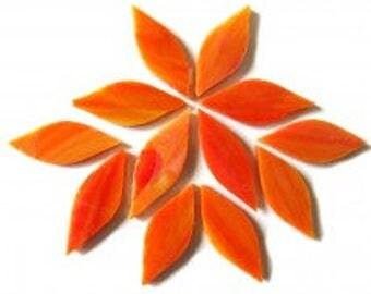 20pc. 38mm Sunburst Orange TIFFANY Stained Glass Petal Shaped Mosaic Tiles//Mosaic Supplies//Mosaic Pieces//Crafts