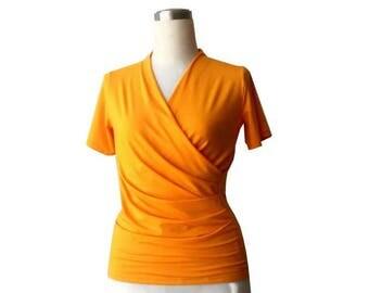 Short sleeve Wrap Top, Mango orange wrap top, Plus size wrap top/shirt/blouse, Handmade custom womens clothing, Maternity clothes