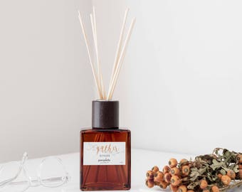 Reed Diffuser Oil Set - Gather Winter Season Room Diffuser Oil in Decorative Brown Square Vase, Natural Dyed Reeds and Packed in Kraft Box