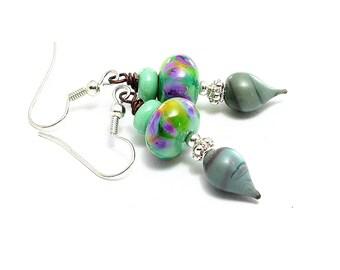 Small Green Dangle Earrings. Spring Green Lampwork Bead Earrings. SS Bali Beads. Boho Gypsy Earrings. Gifts For Her. Glass Bead Jewelry.
