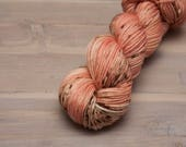 Hand dyed worsted yarn, Grilled Peach Splash, superwash merino, wool yarn, peach, pink, tan, brown, yarn, medium,