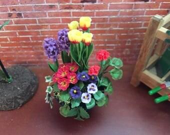 Beautiful Miniature Flower Arrangement, Geraniums, Tulips, Pansies in Black Urn Planter, #3770, Dollhouse 1:12 Scale Miniature