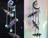 Bat Crystal Sun catcher, Halloween Suncatcher, prism mobile, available in Black, Silver or Gold