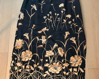 Vintage Navy 60s Floral Mid Length Skirt
