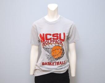 Vintage 1980's NCSU Basketball T-Shirt North Carolina State University Tshirt Retro Tee Shirt Wolfpack Size Medium Gray ACC