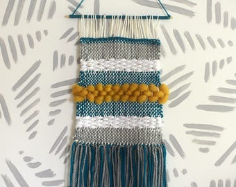 Wall Weaving | Woven Wall Art | Woven Wall Hanging | Wall Tapestry | Teal, Mustard, Stripes