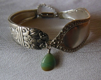 Antique Spoon Bracelet   7.5 inch With Amazonite Gemstone