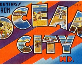 Greetings from Ocean City postcard reproduced 8 x 10 vintage image for framing,