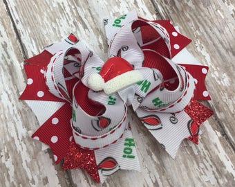 Santa Hat Bow, Stacked Boutique Bow with Santa Hat Center, Stacked Boutique Bow, Red and Green Bow, Christmas Bow, Holiday Bow Hair Clip