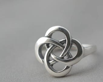Celtic Knot Ring,  Sterling Silver Ring, Love Knot Jewelry