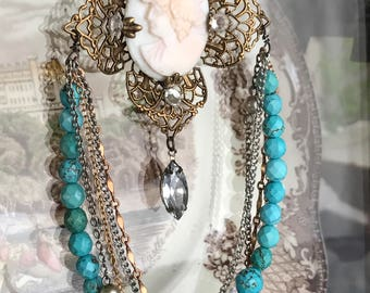 turquoise lady - cameo necklace vintage shell filigree stone beads chain assemblage victorian revival boho bohemian, the french circus