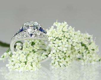 Sapphire ring, diamond engagement ring, sapphire diamond ring, Art Deco engagement ring, Art Deco sapphire ring, sapphire engagement ring