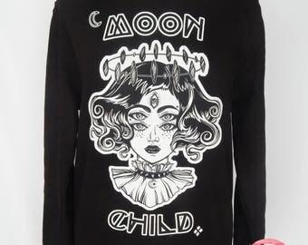 8th Sin Original Moon Child Sweatshirt, Witch Jumper, Witch Sweatshirt, Witch Girl Sweatshirt, Witchy Sweater, Moon Sweater, Unisex Sweater