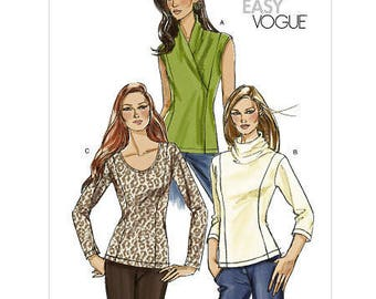 Sz 16/18/20/22 - Vogue Top Pattern V8323 - Misses' Knit Top with Princess Seams in Three Variations - Very Easy Vogue