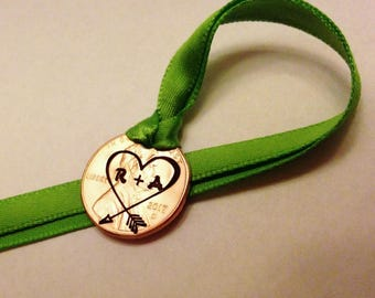 Anniversary Gift: Custom Initials in Heart, Arrow, Girlfriend Her Couple Personalized Christmas Ornament, Newlyweds, Carved 1959-2018 Penny