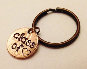 2018 Graduation Gifts for Her, Class of 2018, Good Luck Graduate, Penny Keychain, 2018 College High School Grad Gifts -- 3 Key Ring CHOICES