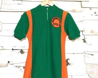 Vintage 1960's European Cycling Jersey Short Sleeve Shirt - Small