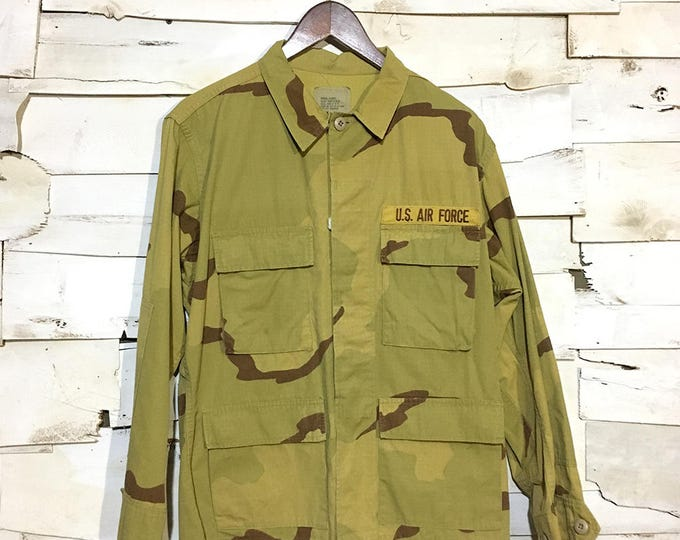 Vintage Army Issue Dyed Dessert Camo 100% Cotton Warm Weather Button Up Jacket Made in USA - Yellow