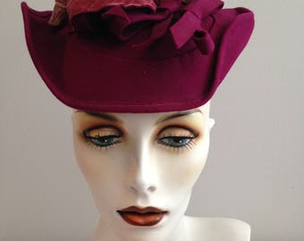 Stunning Vintage Fascinator Hat / Rich Purple Pink And Mauve Colors / Fill In The Divots / Pinup Rockabilly Hat / Festival Costume Hat