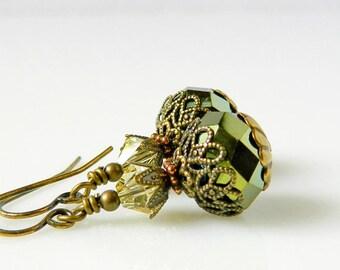 Olive Green Earrings Dark Green Earrings Victorian Emerald Earrings Iridescent Forest Green Yellow Swarovski Crystal Earrings Antique Brass